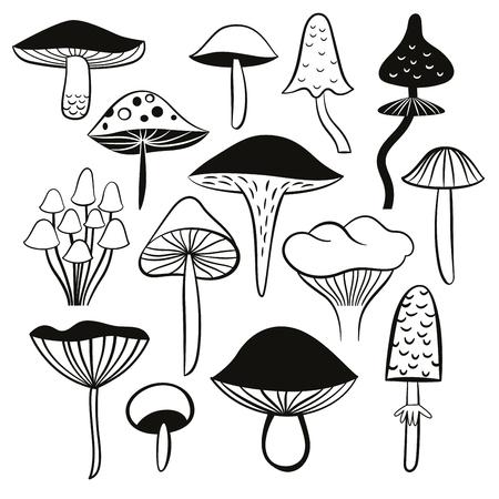 black and white mushrooms Stock Illustratie