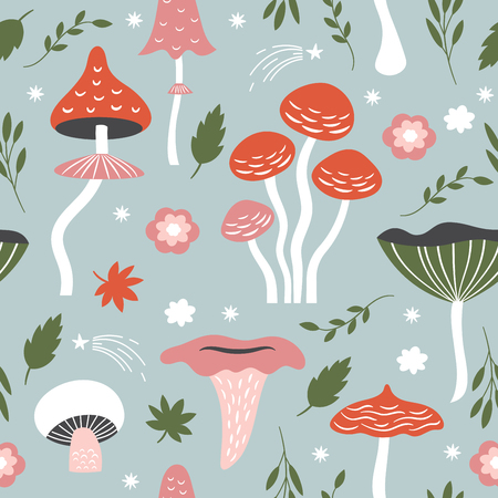 Seamless pattern with whimsical mushrooms