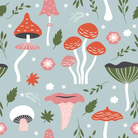 Wzór z kapryśnymi grzybami