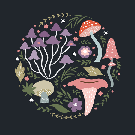 Mushrooms and plants, vector illustration
