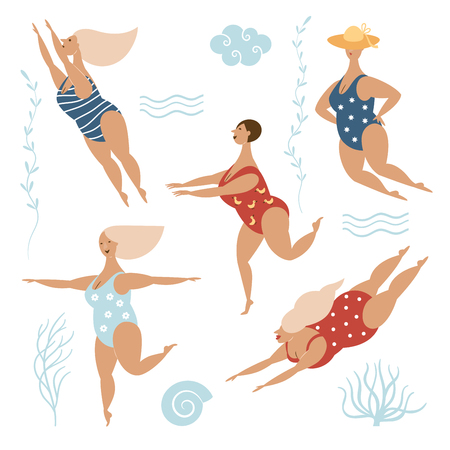 Five funny cute fat women in swimsuits, Vector illustration on white background