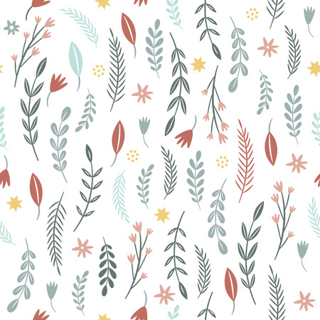 seamless pattern with flowers and brunches