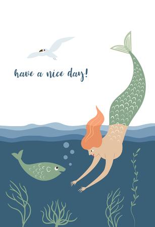 Mermaid, fish, vector illustration, vertical card design Illustration