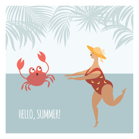 cute fat woman is swimming in the sun-hat, vector illustration Illustration