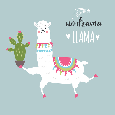 funny llama with cactus