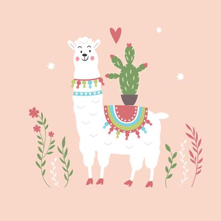 funny llama with cactus