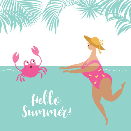 cute fat woman is swimming in the sun-hat, vector illustration  イラスト・ベクター素材