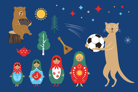 welcome to Russia, Russia icons set, russian doll Matryoshka, balalaika, bear and cat with ball Illustration
