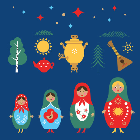 welcome to Russia, Russia icons set, russian doll Matryoshka, balalaika, samovar Standard-Bild - 104287415