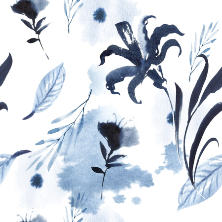 Watercolor seamless floral pattern