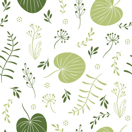 seamless pattern with leaves, flowers, floral elements, fabric design