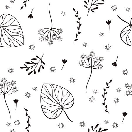 seamless con foglie, fiori, elementi floreali, design del tessuto