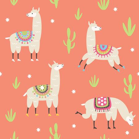 귀여운 라마 삽화, 분홍색 배경으로 완벽 한 패턴