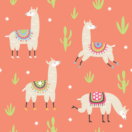 seamless pattern with cute llama illustrations, pink background