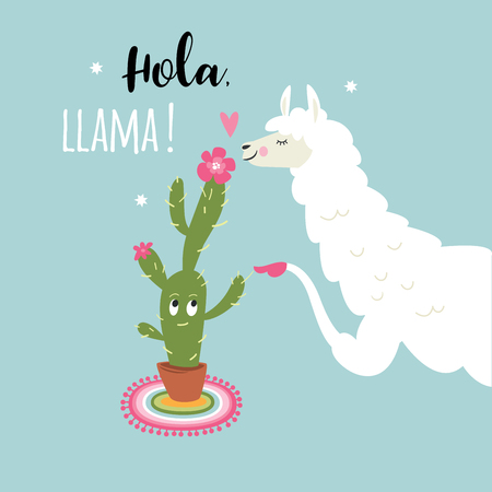 cute llama illustration on blue background Foto de archivo - 104896952