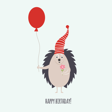cute Hedgehog, greeting card, Birthday card