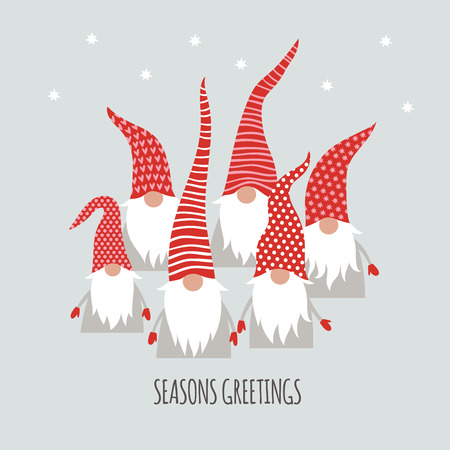 Season Greetings, Christmas card, cute little Gnomes, vector illustration Stock Illustratie