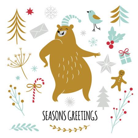 Season greetings, vector illustrations set