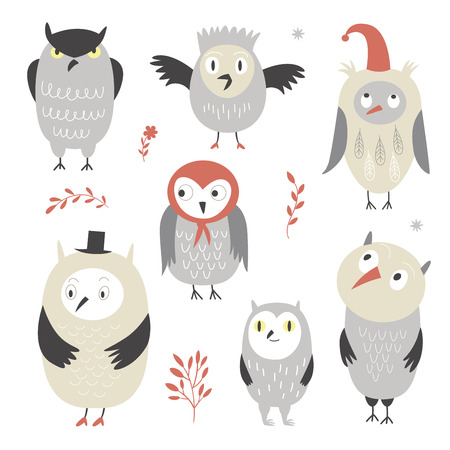 cute owls, vector illustrations Illustration