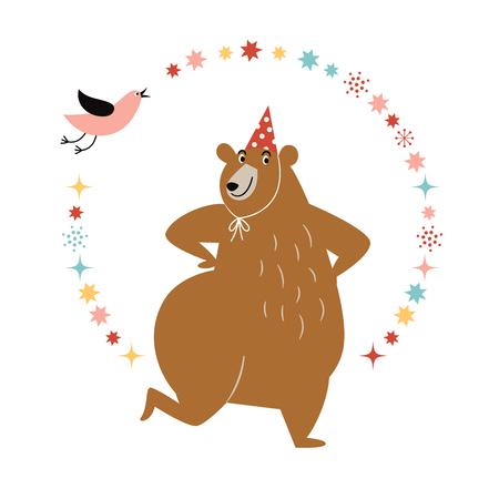 Funny dancing bear, idea for greeting card, birthday card, invitation. Vector illustration