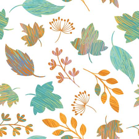 Patrón sin fisuras, ilustración vectorial, hojas de otoño
