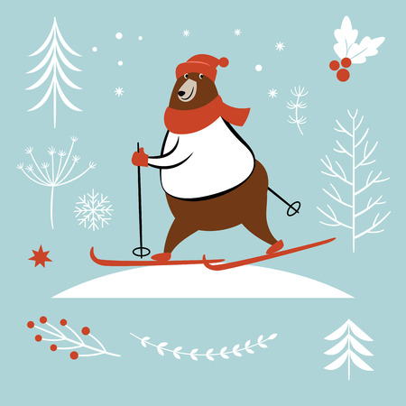 Bear ski in winter, vector illustration, season greeting card design