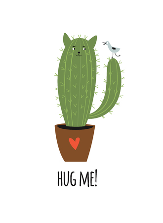 cactus like a cat with little bird, vector illustration