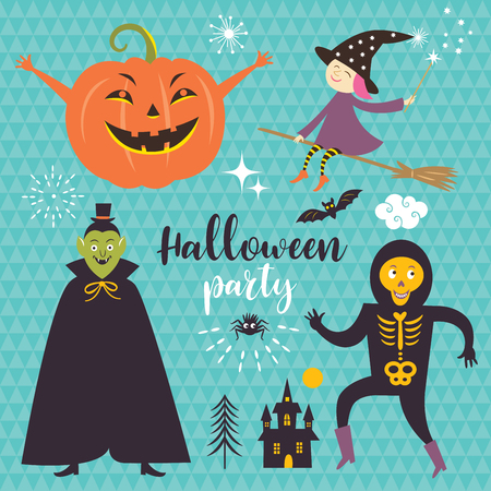 Vector set Halloween design elements for flyer or invitation template for Halloween party Illustration
