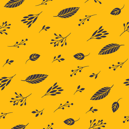 hojas de otoño sobre un fondo amarillo Ilustración de vector