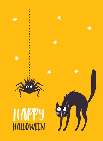 Halloween illustration, black cat and spider Illustration