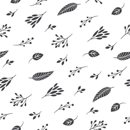 nahtloses Schwarz-Weiß-Muster, Blätter und Zweige Vektorgrafik