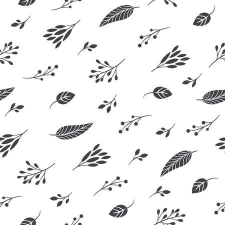 seamless black and white pattern, leaves and branches Illustration