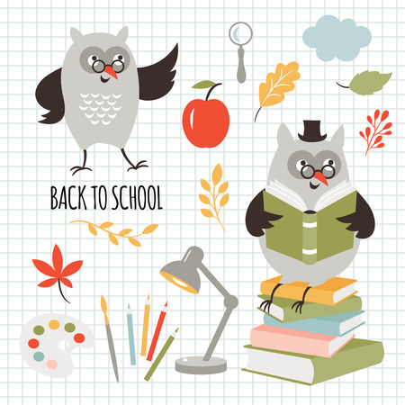Back to school, illustrations set, vector images