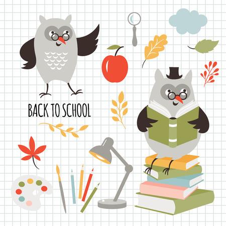 Back to school, illustrations set, vector images Illustration