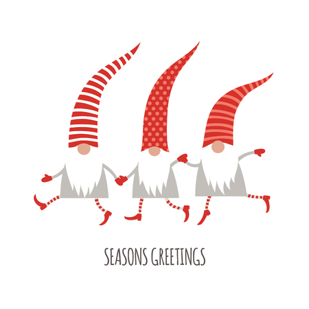Season Greetings, Christmas card, cute little Gnomes, vector illustration Vectores