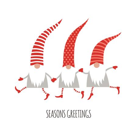 Season Greetings, Christmas card, cute little Gnomes, vector illustration Illustration