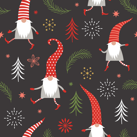 Seamless pattern, cute Christmas gnomes in red hats