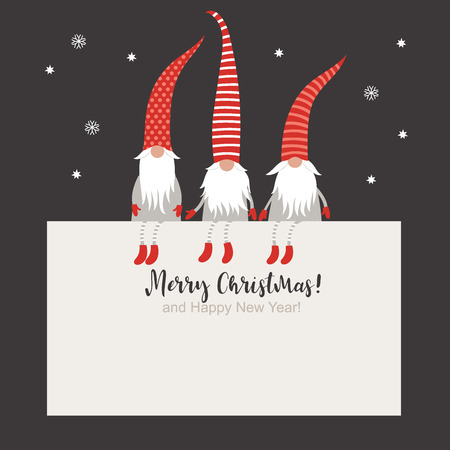 Christmas Card, Seasons greetings, cute Christmas gnomes in red striped hats Illustration