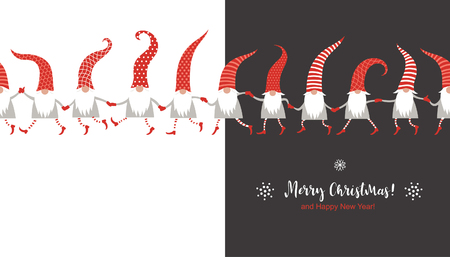 Christmas Card, Seasons greetings, cute Christmas gnomes in red striped hats Stock Illustratie