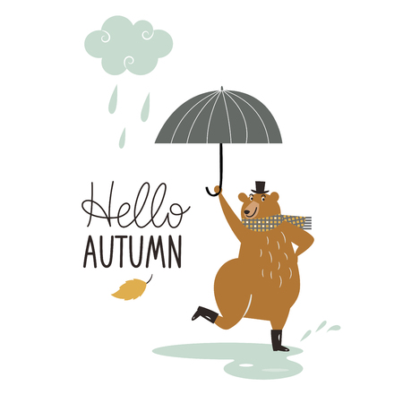 Hello Autumn, cute dancing bear in the rain Foto de archivo - 109986588