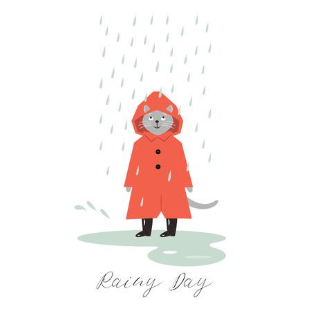 Rainy Day Illustration, Hello Autumn, cute cat in the rain 일러스트
