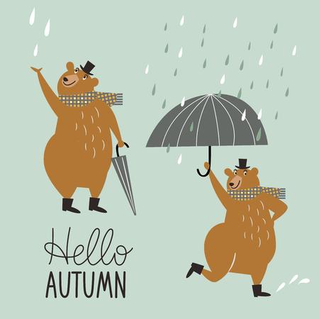 Hello Autumn, cute dancing bear in the rain