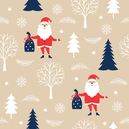 seamless christmas pattern with Santa Claus on a beige Ilustracja