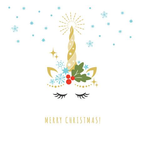 Kartkę z życzeniami Wesołych Świąt z jednorożcem, ilustracji wektorowych, karty i projekt koszuli