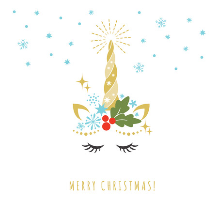 Merry Christmas greeting card with Unicorn, vector illustration, card and shirt design Vettoriali