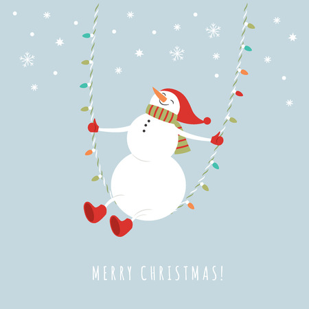 cute snowman in red hat on rope swing in winter, Christmas and New Year season greetings card