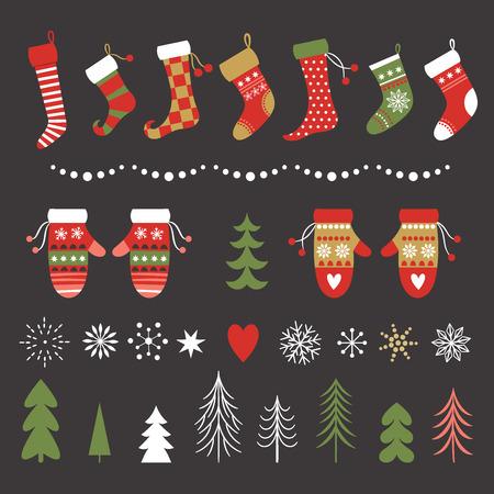 Chaussettes de Noël, mitaines, flocons de neige et collection d'arbres de Noël Vecteurs