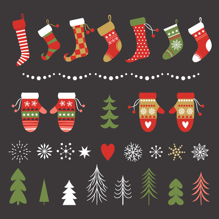 Colección de calcetines, mitones, copos de nieve y árboles de navidad Ilustración de vector