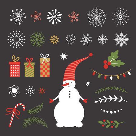 Season greetings, merry christmas, vector set, snowflakes and design elements