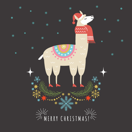 Llama in red scarf and hat, vector illustration, greeting card